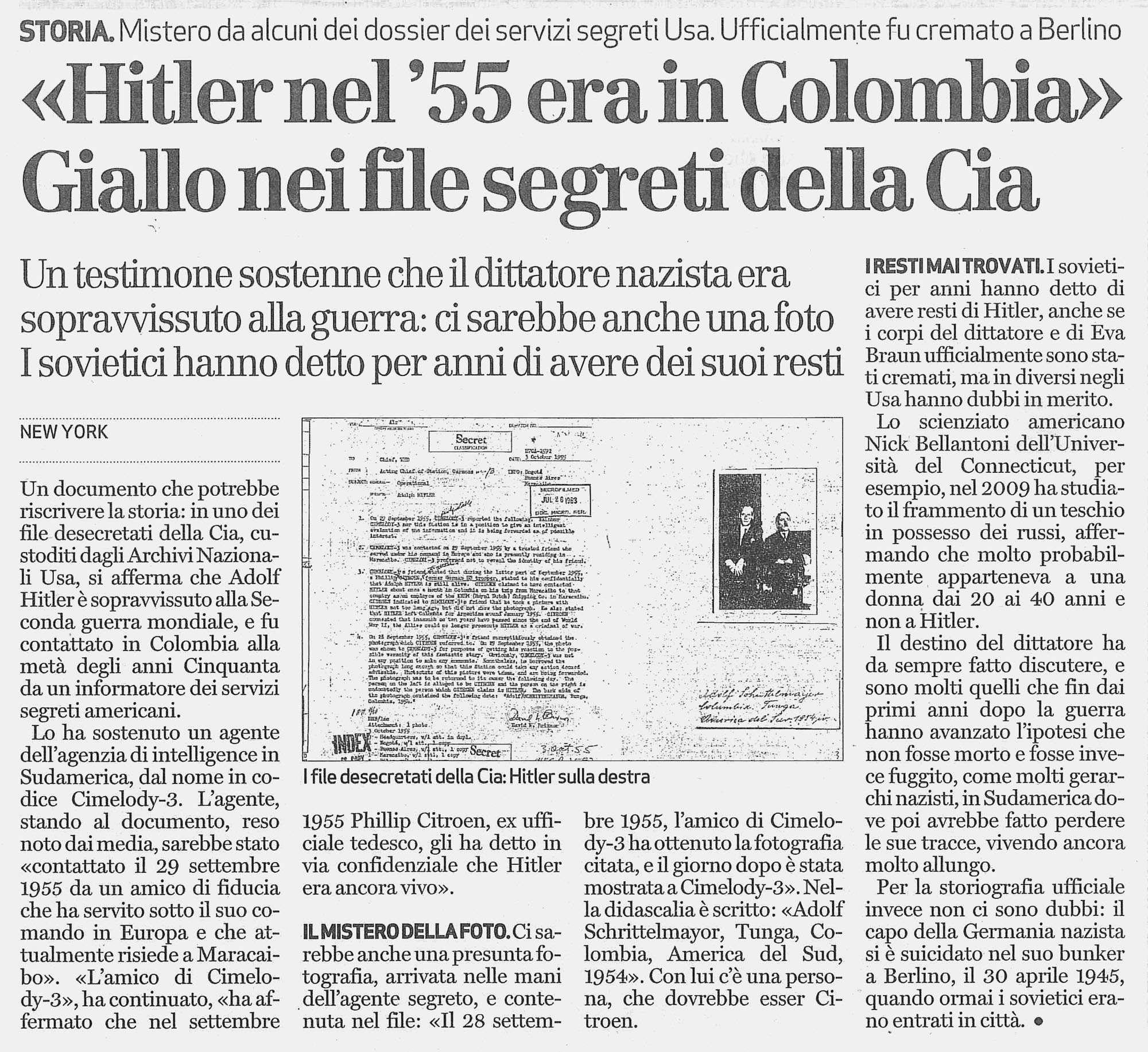 nel 55 Hitler era in sudamerica